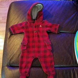 GAP Baby Warm Red Plaid Jumpsuit (3-6M)